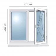 Окно поворотно-откидное 1000x1000 мм, Framex