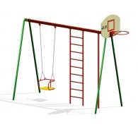 Комплекс гимнастический с баскетбольным щитом и качелей на цепях