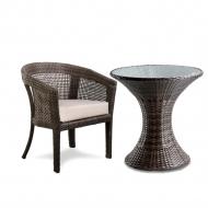 Комплект мебели из ротанга: столик + кресло, Disco