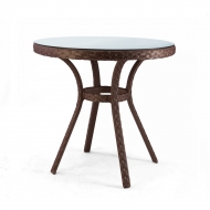 Круглый столик из ротанга с заплетенной столешницей d=80см, Bluz