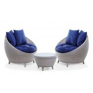 Комплект кофейный из ротанга: 2 кресла + столик, Kivi