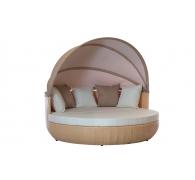 Садовый лежак с навесом из техноротанга