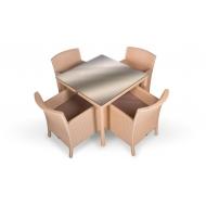 Комплект плетеной мебели стол 90 см + 4 кресла, Kipr