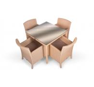 Комплект плетеной мебели стол 90 см + 4 кресла