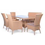Комплект мебели стол 160см + диван + 2 кресла + 2 стула, Milano
