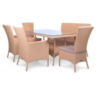 Комплект мебели стол 160см + диван + 2 кресла + 2 стула