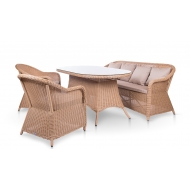 Комплект мебели из ротанга стол 160 см + 2 кресла + диван, Sevilia